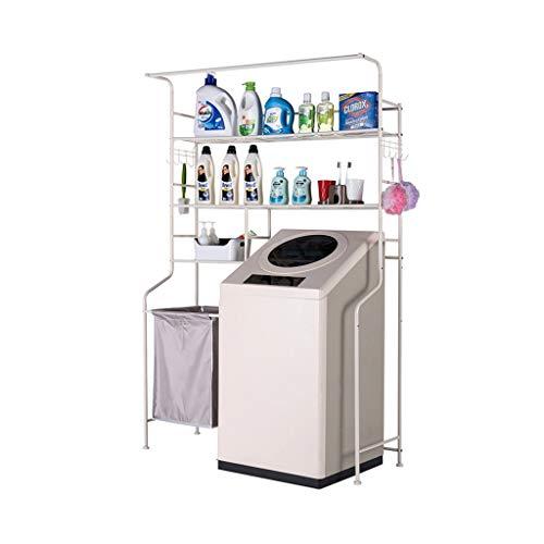 REGAL Waschmaschinen-3-Tier-Metallregal, Badezimmer-Multifunktionsweiß-Lagerregal, Einheiten mit schmutzigem Korb