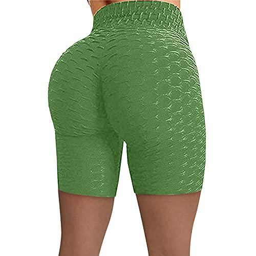 Pantalones Cortos Deportivos de Estiramiento de Levantamiento de Cadera de Cintura Alta de Verano con Personalidad de Moda para Mujer Jacquard Bubble Yoga Shorts XX-Large