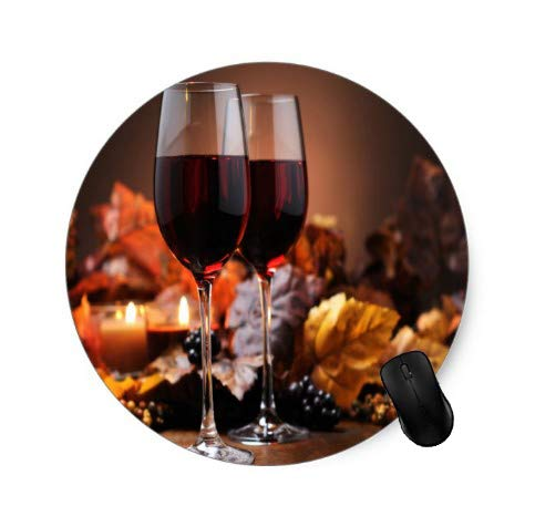 Gaming Round Mouse Pad Wine Glass Design for Desktop and Laptop 1 Pack