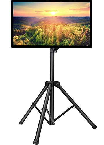 PERLESMITH TV Tripod Stand-Portable TV Stand for 23-55 Inch LED LCD OLED Flat Screen TVs-Height Adjustable Display Floor TV Stand with VESA 400x400mm, Holds up to 88lbs PSTM1