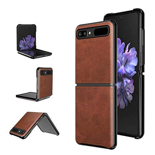 Foluu für Samsung Galaxy Z Flip Hülle/Z Flip 5G Hülle, Galaxy Z Flip 5G Ledertasche, Superdünne schlanke robuste Schutzhülle für Samsung Galaxy Z Flip 5G 2020 (Brown)