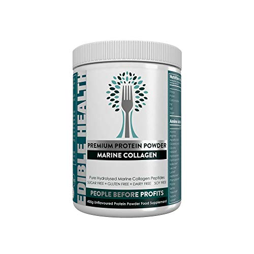 Premium Marine Collagen Powder. 13,000mg, £1.10p per day, 13x Stronger Than Capsules + Liquids. Fast Acting Hydrolysed Protein Peptides from EU. 18 Aminos. Paleo, Keto, Kosher, Halal. 30 day, 400g tub