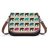 TOBEEY Crossbody Portemonnaie für Damen, Kunstleder mit farbigem Elefantenmuster, strapazierfähige Hosentasche mit Klettverschluss und abnehmbaren Riemen für Trekking-Bikes.