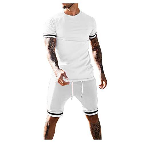 feftops Chándal para De Hombre Verano Ropa Casual Deportiva Camiseta+Shorts Chándales Color SóLido Traje Casual Cómodamente de Jogging Traje Deportivo
