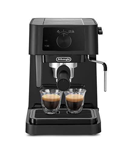 De'Longhi EC 230.BK Macchina Espresso con Pompa in Acciaio Inoxidabile, Manuale e Cappuccino per caffè in Polvere e Cialde E.S.E, 2 Cups, Plastica