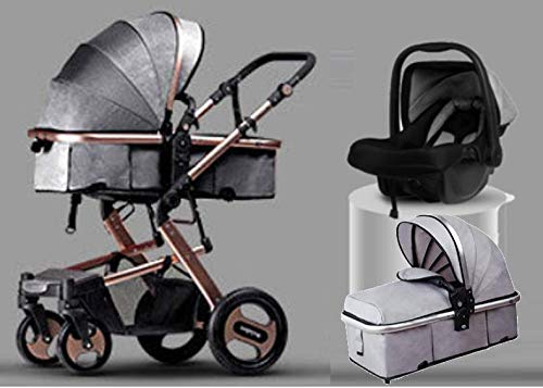 BabyTeddy 4 in 1 Baby Stroller Car Travel System Baby Stroller with Car Seat Bassinet Easy Fold, 0-4 Years Stroller/Pram Golden Stroller Frame with Stroller Mosquito Net (Silver Grey Fabric Color)