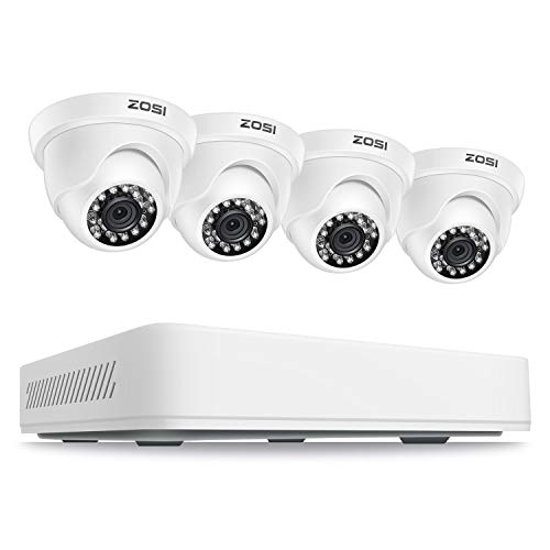 ZOSI Home Security Camera System Outdoor Indoor, 1080p Lite 8 Channel CCTV DVR Recorders with 4 x 720p Dome Surveillance Camera, 80ft Night Vision, Remote Access, Motion Detection (No Hard Drive)