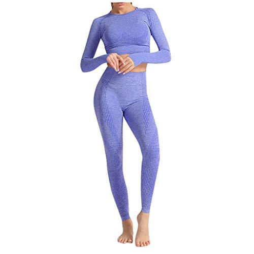 Tomatoa-Damen Yoga Kleidung Anzug Training Mode Langarm und Legging Jogginganzug Sportanzug Frauen Laufbekleidung Set S,M,L