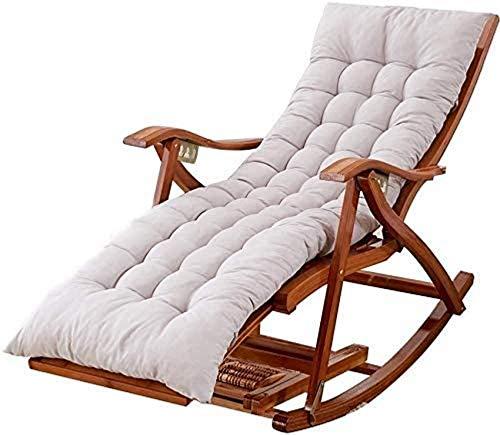 Tumbona Sillas de jardín Tumbona plegable Tumbonas reclinables, plegable Siesta para adultos Silla mecedora de bambú portátil con reposapiés retráctil y bolas de masaje de pies (color, gris), gris Al
