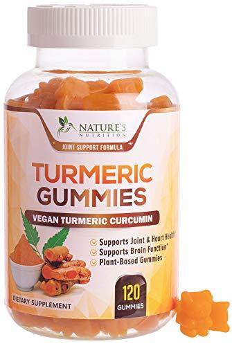 Turmeric Curcumin Gummies with Black Pepper, Extra Strength Absorption Chewable Vitamins Gummy, Best Vegan Joint Support Tumeric Supplement - Joint Comfort for Men & Women - 60 Gummies