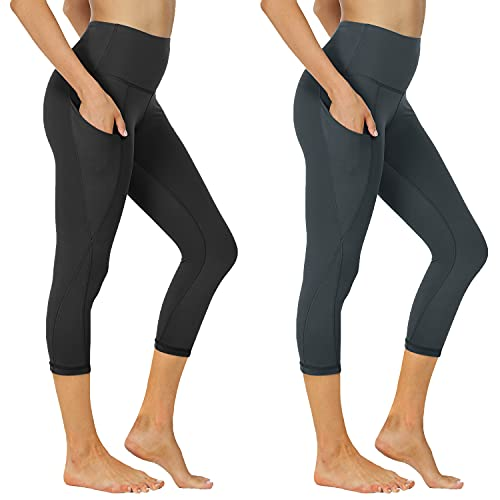 NexiEpoch 2 Pack Capri Yoga Pants for Women - High Waisted Tummy Control Stretch Leggings with Pockets for Workout, Running (Capri 2 Pack Black/Carbon, X-Large)