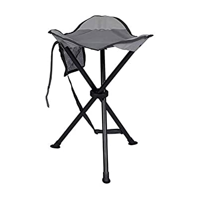 PORTAL Tall Slacker Chair Folding Tripod Stool for Outdoor Camping Walking Hunting Hiking Fishing Travel, Support 225 lbs, Dark Grey