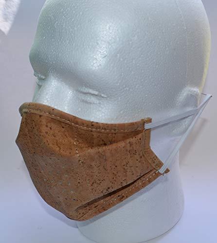 Kork Mundschutz mit Filter,wiederverwendbar und waschbar, Communitymaske, Behelfsmaske