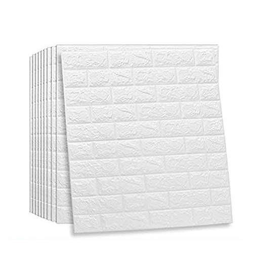 JXBoos 3D Autoadhesivas Ladrillos Paneles de Pared, Decoración Wallpaper Anti-Collision Espuma Suave Decoración Wallpaper Arte de decoración de Pared Bricolaje-Blanco-e 70x77cm(28x30inch)*10p