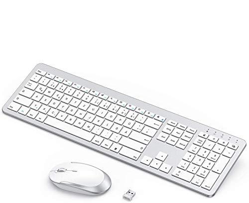 seenda Wiederaufladbare Tastatur Maus Set Kabellos(Full-Size), Ultra-Dünne Leise Tastatur Maus Set, Ergonomische Tastatur Kabellos mit Silikon Staubschutz für PC/Laptop/Smart TV usw, Weiß und Silber