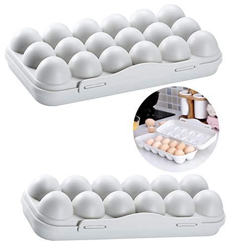 2 Piezas Huevera de Plástico Portátil con Tapa Porta Huevos Apilable Porta Huevos de Nevera Resistente al Desgaste Sellado Prueba de Polvo, para Exterior, Hogar, Picnic etc—Gris, 12 Celdas + 18 Celdas