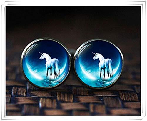 Einhorn Manschettenknöpfe, Einhorn BLUE MOON Manschettenknöpfe, Fantasy Manschettenknöpfe