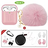 cuauco 2020 Newest AirPods Case Cover Fur Ball Keychain[Compatible with Apple AirPods 1&2;Front LED Visible]with 2 Strap/2 Pairs EarHooks/1 Carabiner/2 Band Holder/1 Headphone Case(10 Pack)(Pink)