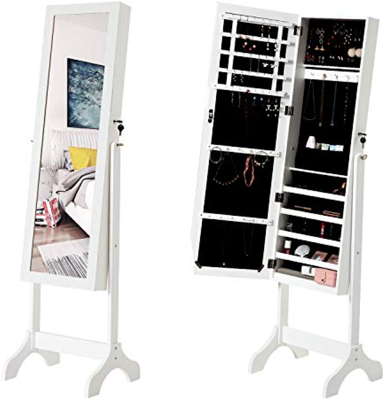 Modern Luxe  Schmuckschrank Standspiegel Spiegelschrank Schminkschrank Schmuckkasten abschliebar mit Schlüsseln Ganzkrperspiegel Groe Aufbewahrungsbox für Ringe, Ohrringe, Halsketten, Wei
