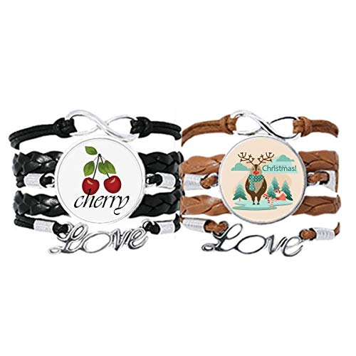 Bestchong Merry mas Tree Reindeer Illustration Bracelet Hand Strap Leather Rope Cherry Love Wristband Double Set