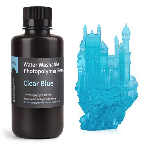 ELEGOO Stampante 3D lavabile in acqua Resina rapida LCD Resina fotopolimerizzante UV 405nm Resina fotopolimerica standard per stampa 3D LCD 500Gram Blu chiaro