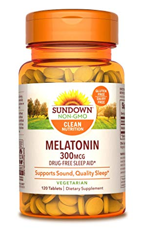Sundown Naturals Melatonin 300 mcg, 120 Tablets (Packaging May Vary)