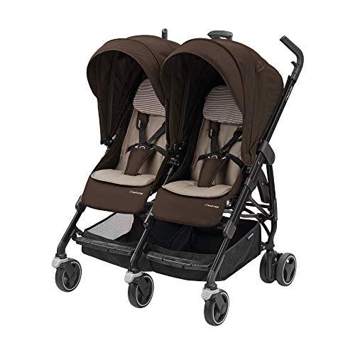 Maxi-Cosi Zwillingskinderwagen Dana for Two, kompakt faltbarer Geschwisterwagen, nutzbar ab der Geburt bis ca. 3,5 Jahre (ca. 0-15 kg), kompatibel mit den meisten Maxi-Cosi Babyschalen, Earth Brown