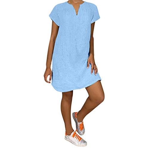 Lazzboy Damenmode Lose Freizeit V-kragen Kurzarm Damen Leinenkleid Sommer V-ausschnitt Kleid Boho Sommerkleid Leinen Kleider Strandkleider A-linie(Blau,XL)