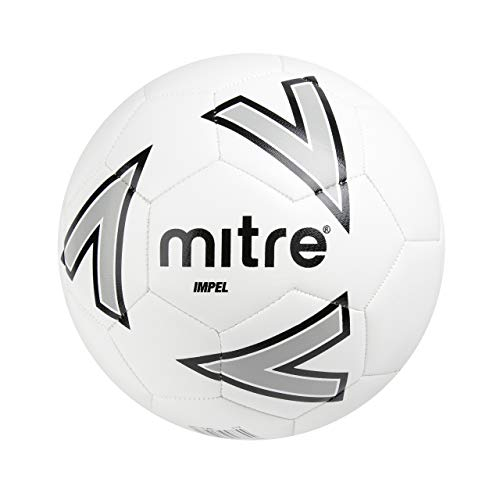 Mitre, Impel Training, Pallone Da Calcio, Unisex Adulto, Bianco (White/Silver/Black), 5