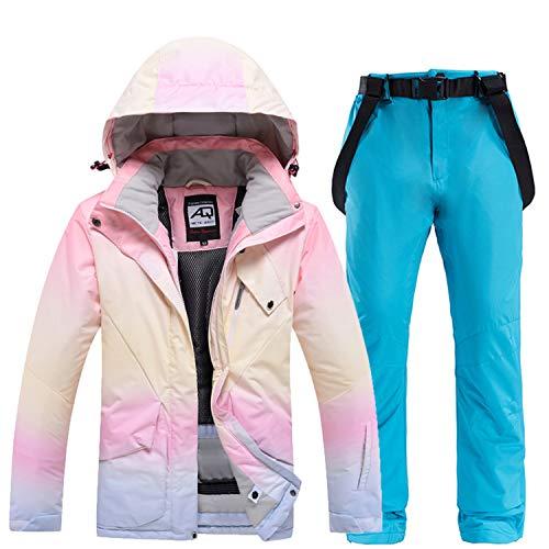YOJOLO Mujer Traje Esquí Color Degradado Resistente Al Viento Impermeable Esquí Chaqueta Snowboard Conjunto De Pantalón con Pechera Invierno Deporte Al Aire Libre Traje De Nieve Ropa De Esquí,Azul,L