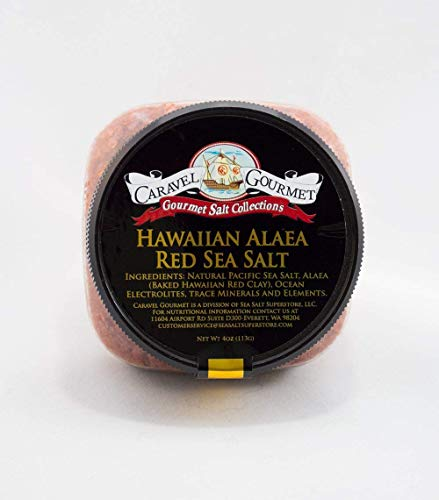 Hawaiian Alaea Red Sea Salt - Solar Evaporated Sea Salt Infused With Baked Red Alaea Clay From Hawaii - Flavorful, Mineral-Rich - No Gluten, No MSG, Non-GMO - 4 oz. Stackable Jar