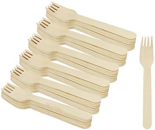 COM-FOUR® 72x Cubiertos desechables tenedor de madera, tenedores desechables, los cubiertos son respetuosos con el medio ambiente y biodegradables - 15,8 cm (072 piezas - tenedor de madera)