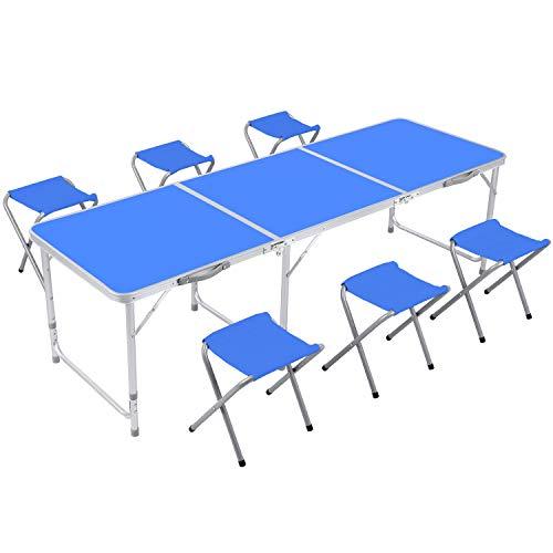 Homfa Campingtisch Klapptisch Gartentisch Falttisch mit 6 Stühlen aus Aluminium faltbar höhenverstellbar 180x60cm weiß blau