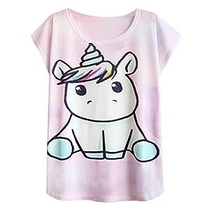 futurino Women's Summer Colorful Bow Tie Unicorn Print Short Sleeve T-Shirt Tops