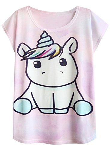 Futurino Women's Summer Colorful Bow Tie Unicorn Print Short Sleeve T-Shirt Tops 3