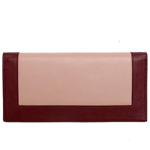 Yi-xir Las señoras de la bolsa favorita de la piel de vaca de color coincidencia larga cartera simple magra hebilla de cuero cartera de las mujeres diagonal bolsa mochila