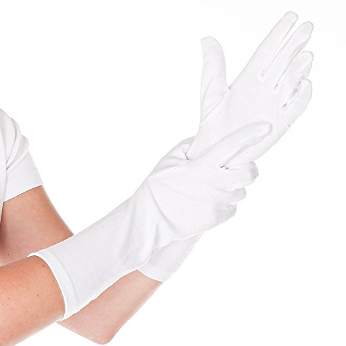 HYGOSTAR Baumwollhandschuhe extra lang 35 cm - BLANC - 12 Paar