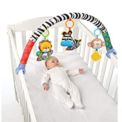♫ Cute shape design is very nice, these small animals are made of plush material. ♫ A travel arch with detachable, soft hanging toys to keep your child entertained while out and about. Ideal for strollers or bouncers. ♫ The zebra is squeaky toy, lion...