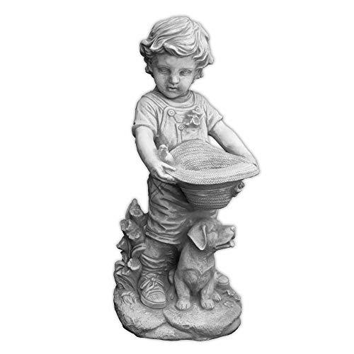 gartendekoparadies.de Wunderschöne Massive Jungenfigur mit bepflanzbaren Hut Kinderfigur aus Steinguss frostfest