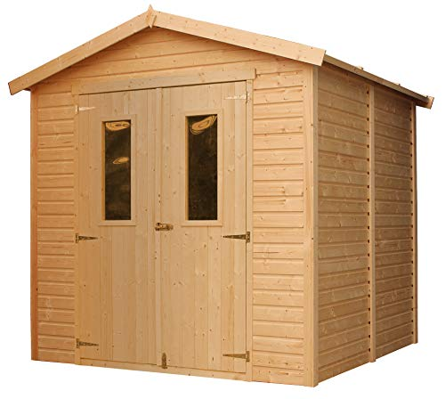 TIMBELA Wooden Garden Shed - Outdoor Storage with Windows – W8ft x L7ft x H7ft Timber Shiplap Shed - Garden Workshop - Bike, Tool Shed Storage M351C