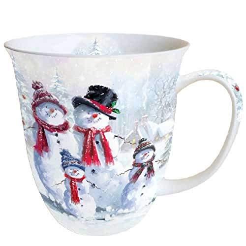 Porzellanbecher Snowman with Hat Schneemann Becher Bone China 0,4l Kaffeebecher Weihnachten