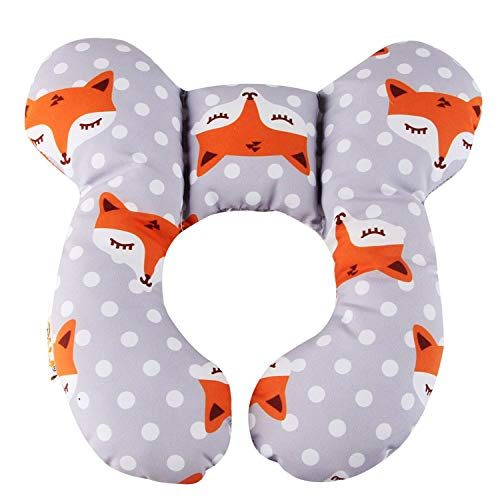 Baby Travel Pillow, Infant Head and Neck Support Pillow for Car Seat, Pushchair, for 0-1 Years Old Baby (Gray Fox)