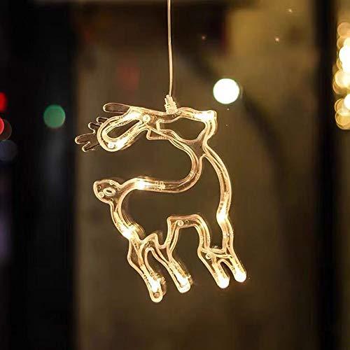LED ventana de navidad forma de luz mural de ventana ventosa silueta de ventana luces de navidad con pilas decoración luz para habitación de niños escaparate fiesta (3 piezas),Elk 14 * 19cm