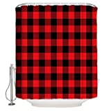 Prime Leader Shower Curtains for Bathroom Sets Red Black Buffalo Check Plaids Christmas Bath Curtain Durable Waterproof Polyester Washable Shower Curtain Bathroom Accessories with Hooks 66