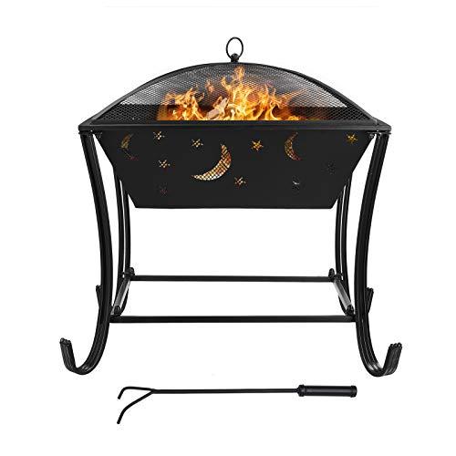 GARTIO Feuerschale mit Grillrost Multifunktional Fire Pit für Heizung/BBQ Grill,Feuerkorb mit Funkenschutzgitter, Schürhaken & Kohlerost, Feuerschalen für Den Garten Strand Terrasse,61*61*62cm