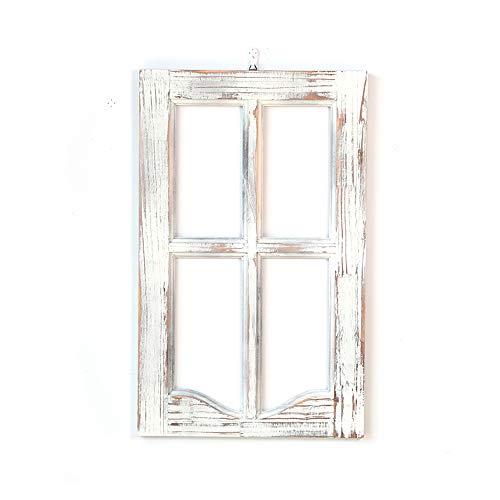 Marco de ventana de madera de granero rústico, decoración de montaje en pared de casa de campo decorativa de granja, panel de ventana de madera, para sala de estar, dormitorio, repisa de chimenea