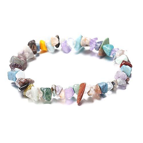 SSDONGS Natural Stone Chip Beads Bracciale elastico Bracciale in pietra colorata stile etnico