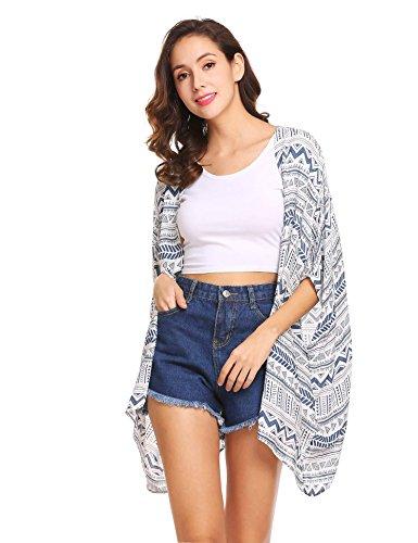 Meaneor Damen Sommer Boho Print Chiffon Kimono Cardigan Bikini Cover Up Strandkleid Strickjacke Geometrie Muster Streifen 3/9 Ärmel Beachwear offene Front Outfits Bademode Swimsuit S-XXL