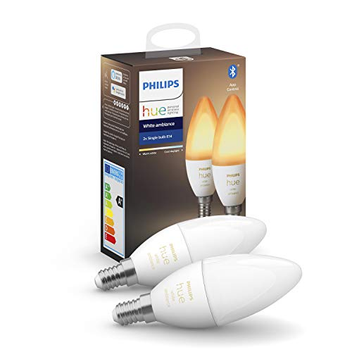 Philips Hue White Ambiance E14 LED Lampe Doppelpack, dimmbar, alle Weißschattierungen, steuerbar via App, kompatibel mit Amazon Alexa (Echo, Echo Dot)