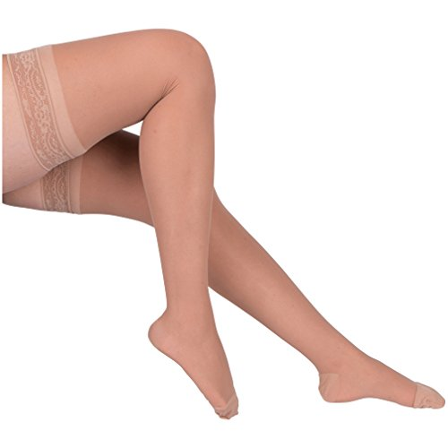 EvoNation Women's USA Made Thigh High Graduated Compression Stockings 8-15 mmHg Mild Pressure Ladies Sheer Socks Lace Top Quality Support Hose - Best Comfort Circulation (Large, Tan Beige Nude)